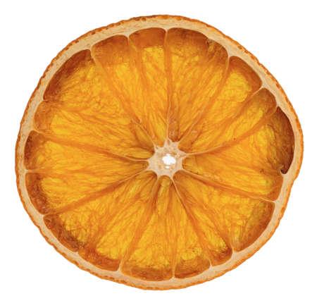 dried round slice of orange isolated on white