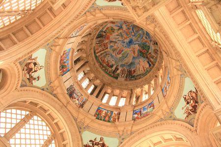 murals: Modern church historical wall murals in barcelona Editorial