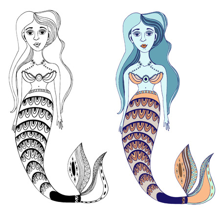 adult mermaid: mermaid, illustrations, backgrounds, sea, arts Illustration