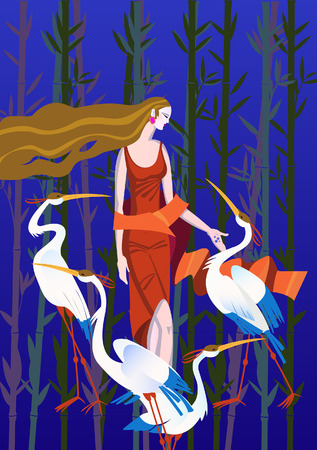 crane bird: Four cranes and a woman in a red dress