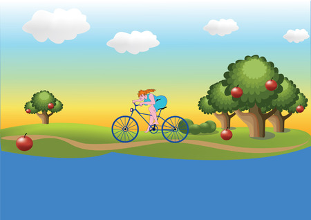 Girl on the bicycle Vector