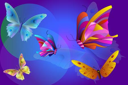 Cinq papillons sur le bleu backgroung Vecteurs