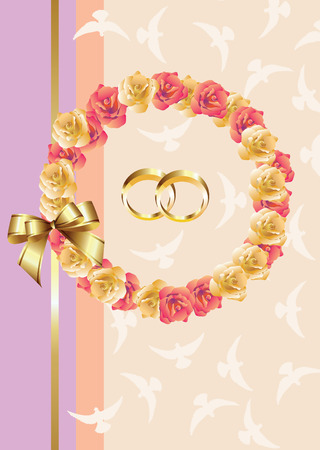 Wedding invitationgreeting card - roses, doves and golden rings. Vector