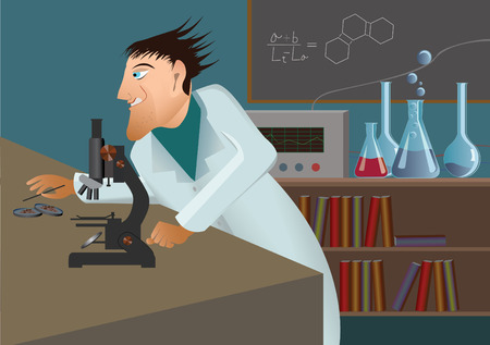 Mad scientist with microscope Vector