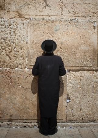 wailing: orthodox jewish man at the wailing wall
