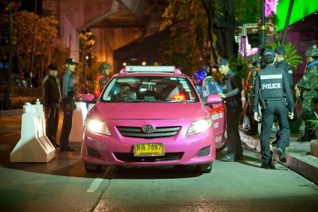 riots: Bangkok police check point due to riots