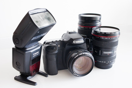 eos: dslr canon camera with lenses and external flash
