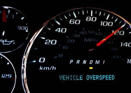 Vehicle over speed dashboard warning light