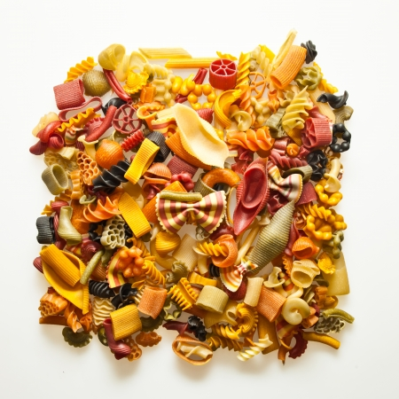 durum: colorful pasta mix isolated on white