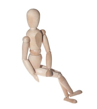 female likeness: Wooden art model figure isolated on white Stock Photo