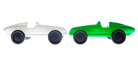 Green and white Toy Car isolated on white