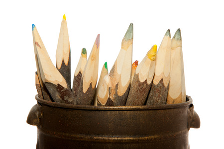 Unique sharp wooden Pencils isolated on white photo