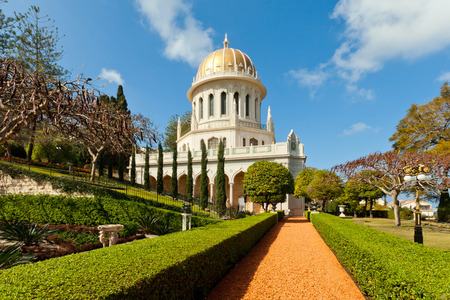 Bahai Gardens and golden Dome stock photo
