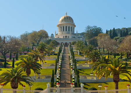 baha: Bahai Gardens Stairs and temple Stock Photo