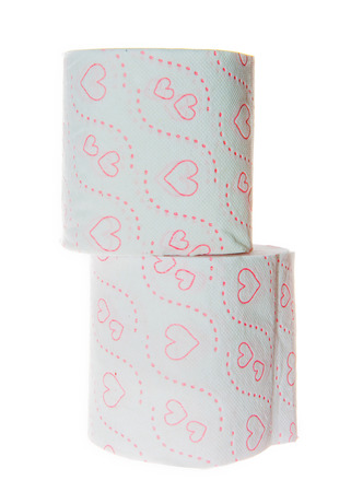 Stack of Two Toilet paper rolls with Hearts pattern  Фото со стока