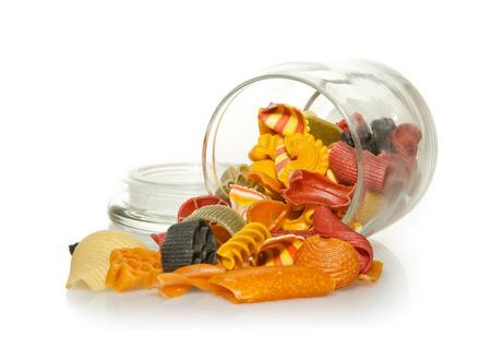 Jar of colourful Pasta photo