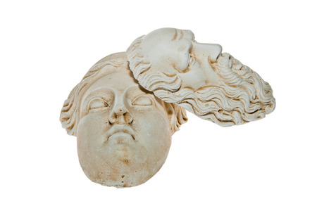 Heads of Zeus and Hera sculptures photo