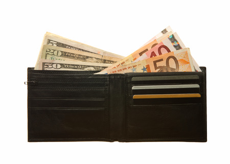Black leather wallet with euro notes, dollars and credit cards