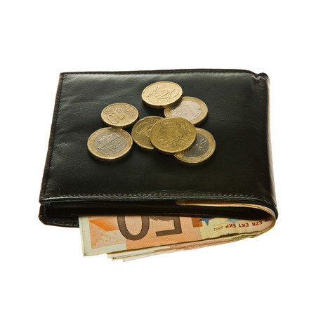 Black leather wallet with euro notes and coins  photo