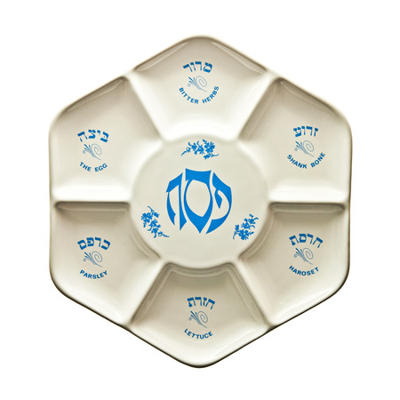 seder: Seder plate with Hebrew and English script
