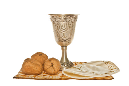 matzoth: Matzoth, silver Kiddush cup three walnuts and Yarmulke for Passover Seder