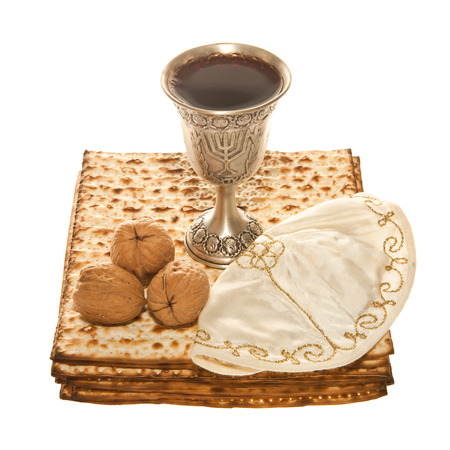 kiddush: Matzoth, silver Kiddush cup three walnuts and Yarmulke for Passover Seder