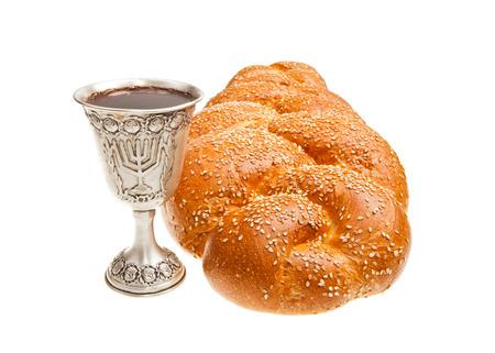 shalom: Challah and Silver Kiddush cup for Jewish Sabbath