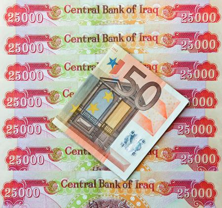 iraqi: Iraqi Dinars and fifty Euro Note