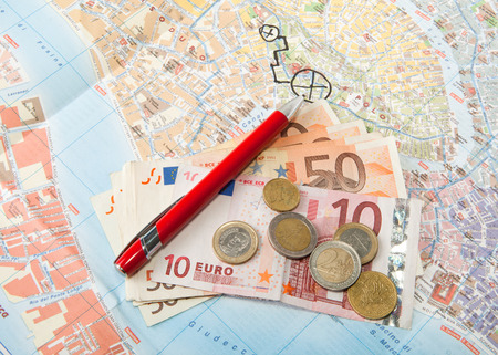 Travel Arrangement of  Euro money Map and red pen Banco de Imagens - 27714430
