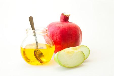 Pomegranate Honey and sliced apple Banco de Imagens - 30985928