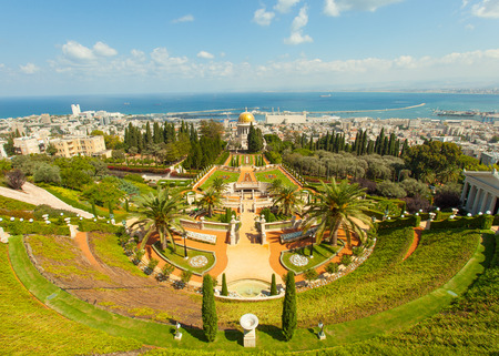baha: A beautiful picture of the Bahai Gardens in Haifa Israel.