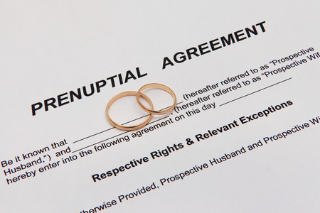 Prenuptial agreement with rings Stok Fotoğraf