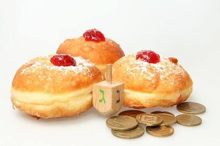 Hanukkah doughnut - Traditional jewish holiday food.