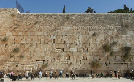 Jewish orthodox man pray at the western wall Jerusalem