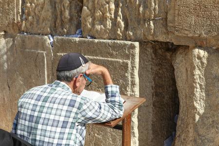 wailing: Orthodox Jewish man pray at the Wailing wall