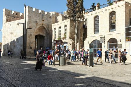 Tourists at Jerusalem Jaffa gate