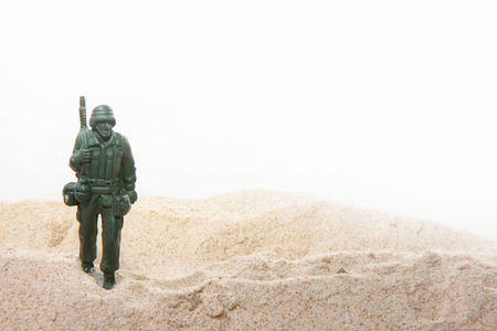 green military miniature: Toy soldiers at war Stock Photo