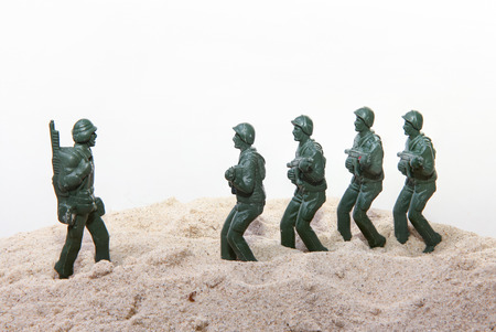 toy soldier: Toy soldiers at war Stock Photo