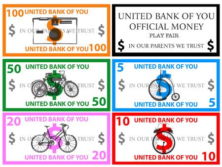 monopoly money: Dollars play money vector