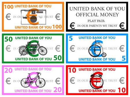 Euro play money vector