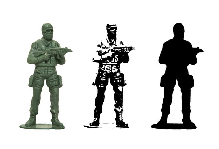 green military miniature: Plastic toy Soldier vector