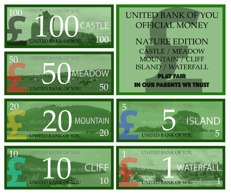 british pound: British pound play money with nature theme