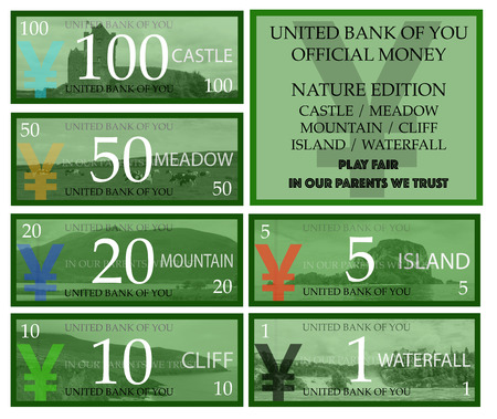 fake money: Yuan play money with nature theme