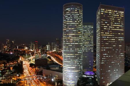 Tel Aviv skyline at night Banco de Imagens - 34890548