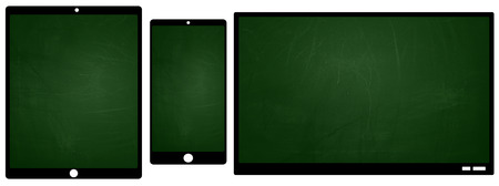 TV smartphone and tablet icons with green chalkboard texture screen photo