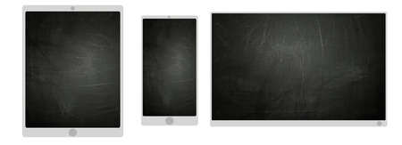 TV smartphone and tablet icons with blackboard texture screen Banco de Imagens - 35042956