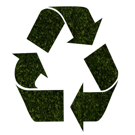 grass texture: Recycle icon with green grass texture Stock Photo