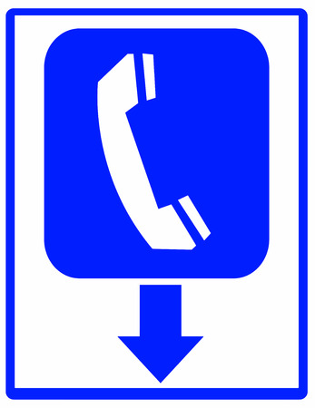 phone booth: Phone booth sign with arrow Illustration