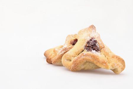 oznei: Traditional Jewish holiday food Purim Hamantaschen Stock Photo