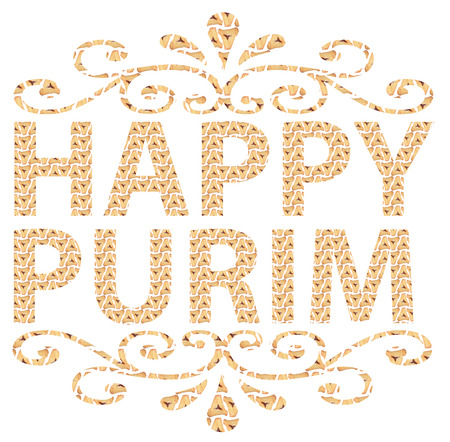 oznei: Traditional Jewish holiday - Happy Purim written in English with Hamantaschen letters